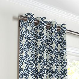 Blue Moroccan Mosaic Grommet Curtains Close Up
