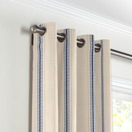 Blue Burlap-Style Stripe Grommet Curtains Close Up