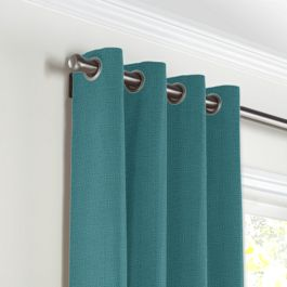 Dark Teal Linen Grommet Curtains Close Up
