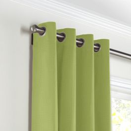 Grass Green Slubby Linen Grommet Curtains Close Up