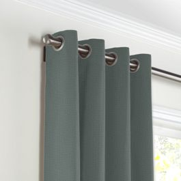 Charcoal Slubby Linen Grommet Curtains Close Up