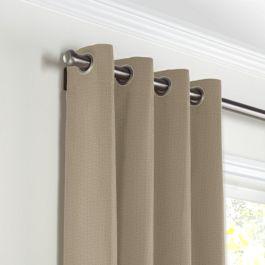 Light Taupe Linen Grommet Curtains Close Up