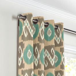 Handwoven Tan & Teal Ikat Grommet Curtains Close Up