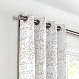 Light Tan & White Scroll Grommet Curtains Close Up