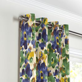 Green & Blue Watercolor Grommet Curtains Close Up