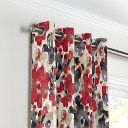 Gray & Red Watercolor Grommet Curtains Close Up