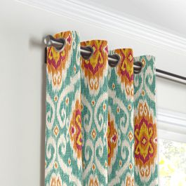 Turquoise & Red Ikat Medallion Grommet Curtains Close Up