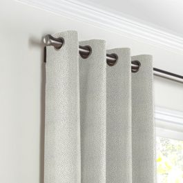 Metallic Silver Shagreen Grommet Curtains Close Up