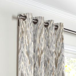 Tan & Gray Faux Bois Grommet Curtains Close Up