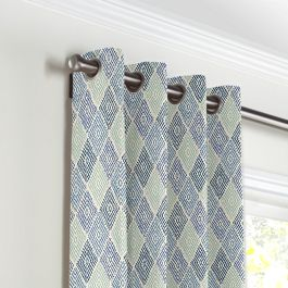 Blue Diamond Block Print Grommet Curtains Close Up