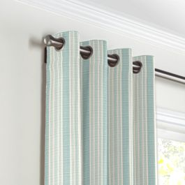 Handwoven Aqua Stripe Grommet Curtains Close Up