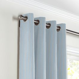 Blue Ticking Stripe Grommet Curtains Close Up