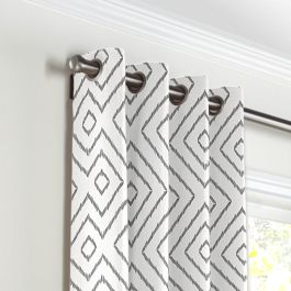 White & Gray Diamond Grommet Curtains Close Up