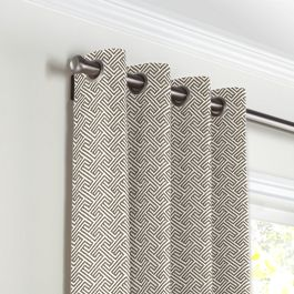 Taupe Geometric Maze Grommet Curtains Close Up