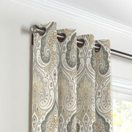Gray & Tan Paisley Grommet Curtains Close Up