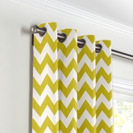 Lime Green Chevron Grommet Curtains Close Up