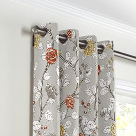 Modern Gray Floral Grommet Curtains Close Up
