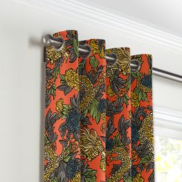 Red Chinoiserie Dragon Grommet Curtains Close Up