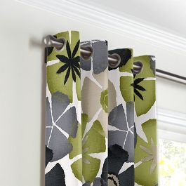 Modern Gray & Green Floral Grommet Curtains Close Up