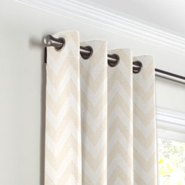 Metallic White & Gold Chevron Grommet Curtains Close Up
