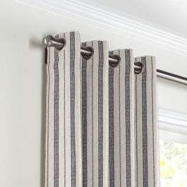 Rustic Gray Stripe Grommet Curtains Close Up