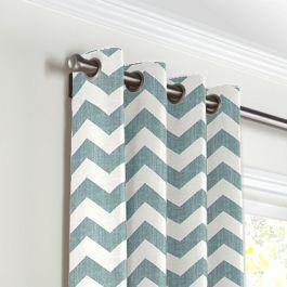 White & Blue Chevron Grommet Curtains Close Up