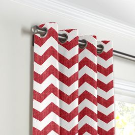 White & Red Chevron Grommet Curtains Close Up