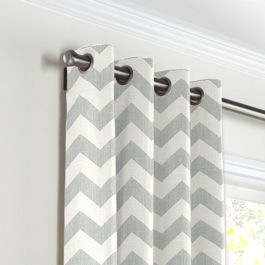 Light Gray Chevron Grommet Curtains Close Up