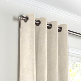 Golden White Metallic Linen Grommet Curtains Close Up