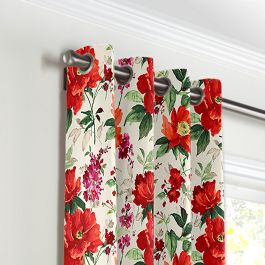 Bold Green & Red Floral Grommet Curtains Close Up