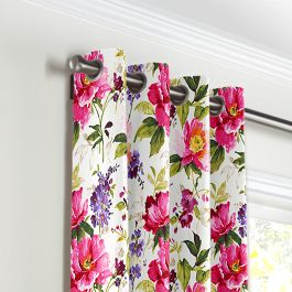 Chintz-like Pink Floral Grommet Curtains Close Up