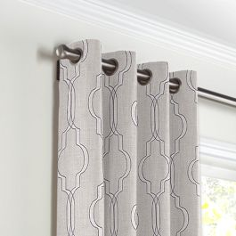 Embroidered Gray Trellis Grommet Curtains Close Up
