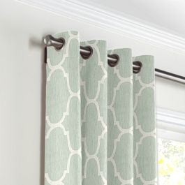 Sea Green Quatrefoil Grommet Curtains Close Up
