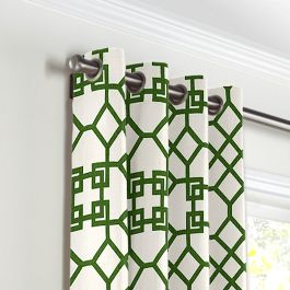 Asian Green Trellis Grommet Curtains Close Up