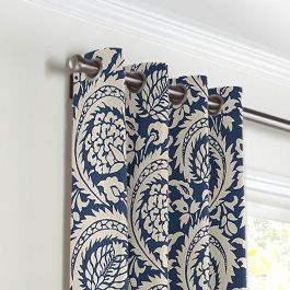 Natural & Blue Botanical  Grommet Curtains Close Up