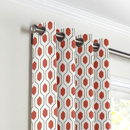 Gray & Red Hexagon Grommet Curtains Close Up