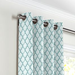 Aqua Blue Block Print Grommet Curtains Close Up