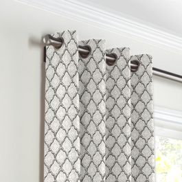 Gray Block Print Grommet Curtains Close Up
