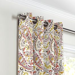 Stenciled Red & Gray Paisley Grommet Curtains Close Up