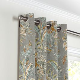 Intricate Gray Floral Grommet Curtains Close Up