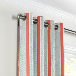 Aqua & Coral Pink Stripe Grommet Curtains Close Up