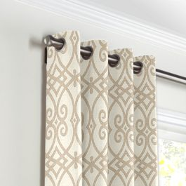 Tan Scroll Trellis Grommet Curtains Close Up