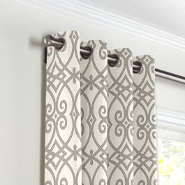 Gray Scroll Trellis Grommet Curtains Close Up