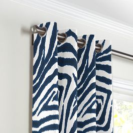 Blue Zebra Print Grommet Curtains Close Up