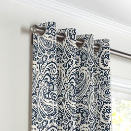 Navy Blue Paisley Grommet Curtains Close Up