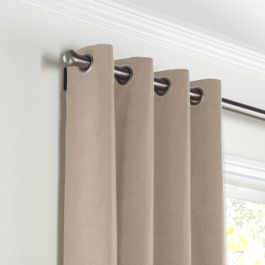 Light Beige Velvet Grommet Curtains Close Up