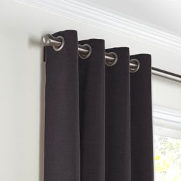Charcoal Gray Velvet Grommet Curtains Close Up