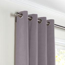 Lavender Gray Velvet Grommet Curtains Close Up