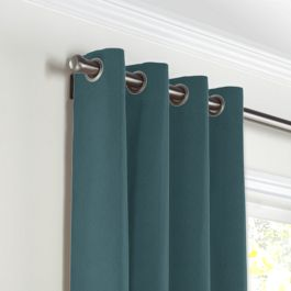 Dark Teal Velvet Grommet Curtains Close Up