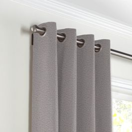 Heathered Gray Woven Blend Grommet Curtains Close Up